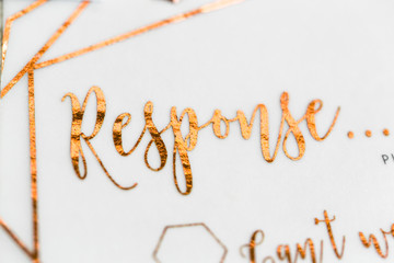 Copper hand written wedding invitations