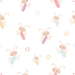 Seamless pattern of multicolored cartoon dragonflies