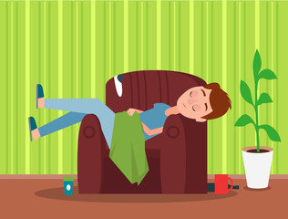 Sleaping in Brown Armchair Man Colorful Poster