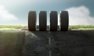 Reifen auf Straße