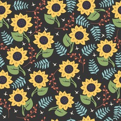 Bright seamless vector pattern with yellow sunflowers.