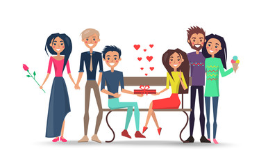 Happy Couples Around Bench Isolated illustration