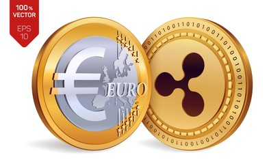 Ripple. Euro. 3D isometric Physical coins. Digital currency. Cryptocurrency. Golden coins with Ripple and Euro symbol isolated on white background. Vector illustration.
