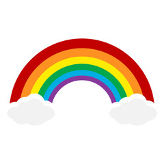 Color Rainbow With Clouds, Vector Illustration