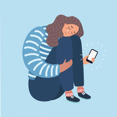 Illustration of a Teenage Girl Crying Over What She Saw on Her Phone