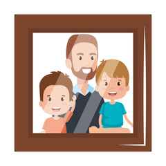 portrait of father lifting sons characters vector illustration design
