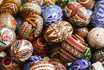 Traditional painted eggs for the orthodox Easter in the region of Bucovina, Romania