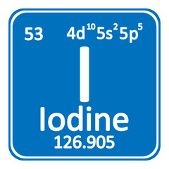Periodic table element iodine icon.