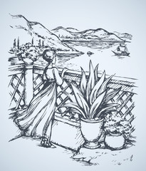 Woman on terrace. Vector drawing