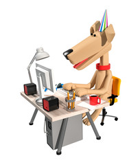 3d render beige cute dog running on computer