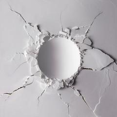White powder texture with round impact crater. Minimalism flat lay.
