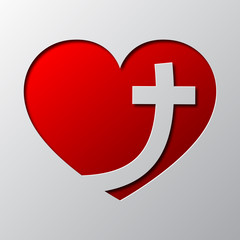 Paper art of the red heart with christian cross. Vector illustration.