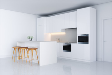 White kitchen in new interior with barstool 3d render