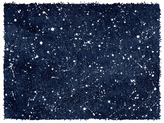 Dark blue hand drawn watercolor night sky with stars. Monochrome watercolour cosmic, cosmos background, galaxy, universe. Splash texture. Rough, artistic edges. Aquarelle rectangle template.