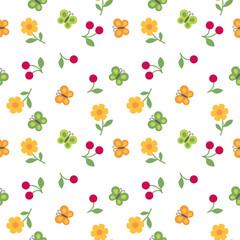 vector seamless children`s pattern flowers, butterflies and cherry