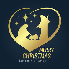 Merry Christmas banner gold sign with Nightly christmas scenery mary and joseph in a manger with baby Jesus and Meteor in heart sign on blue background vector design