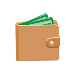 Wallet. Leather wallet and dollars. Vector illustration. Isolated on white.