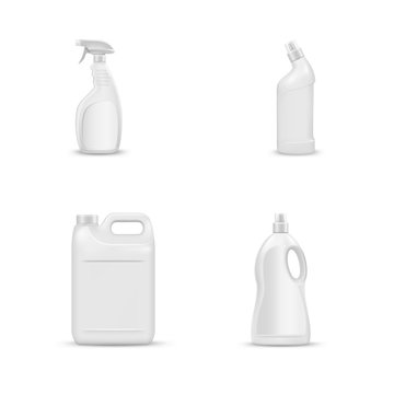 mock up liquid laundry detergent package, realistic set of  blank plastic white bottles. Mockup for brand and package design