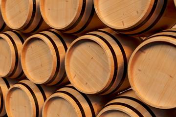 3D Illustration background wooden barrels wine. Alcoholic drink in wooden barrels, such as wine, cognac, rum, brandy.