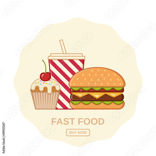 Burger Cupcake And Soda Vector Fast Food Icons Junk