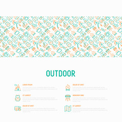 Outdoor concept with thin line icons: mountains, backpack, uncle boots, kettle, axe, map, swiss knife, canoe, camera, fishing rod, binoculars. Modern vector illustration for web page template.