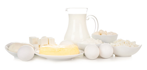 Fotobehang Zuivelproducten Fresh dairy products and eggs on white background
