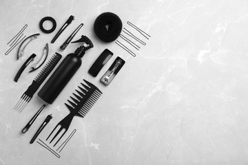 Professional hairdresser set on light background
