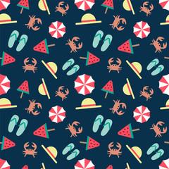 seamless summer pattern on a dark background