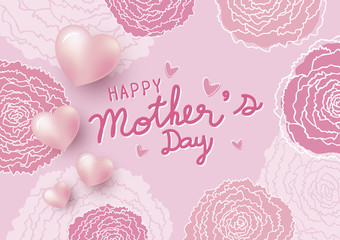 Happy mother's day design and pink carnation flowers with heart background vector illustration