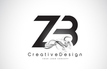 ZB Letter Logo Design with Black Smoke.
