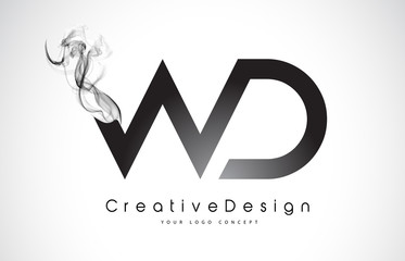 WD Letter Logo Design with Black Smoke.