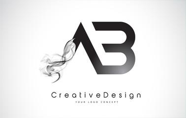AB Letter Logo Design with Black Smoke.