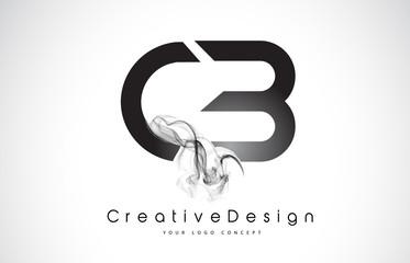 CB Letter Logo Design with Black Smoke.