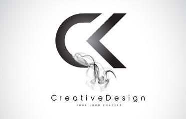 CK Letter Logo Design with Black Smoke.