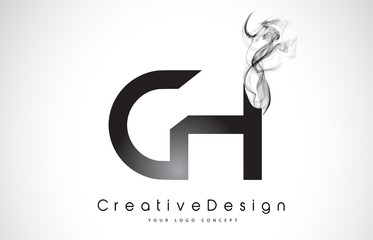 CH Letter Logo Design with Black Smoke.