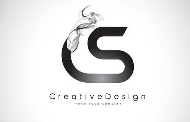 CS Letter Logo Design with Black Smoke.