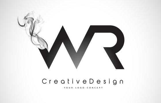 WR Letter Logo Design with Black Smoke.