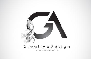 GA Letter Logo Design with Black Smoke.