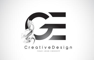 GE Letter Logo Design with Black Smoke.
