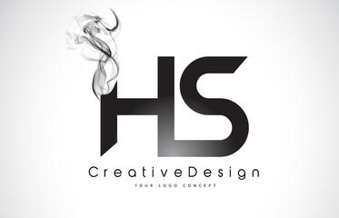 HS Letter Logo Design with Black Smoke.