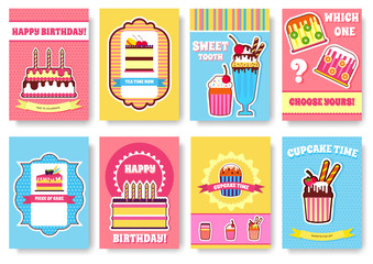 Sweet for party or wedding brochure cards set. Cake stand template of flyear, magazines, posters, book cover, banners. Food infographic concept background. Layout illustrations pages with typography