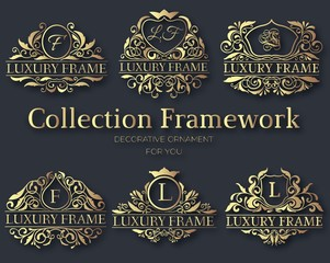 Luxury gold label collection design set