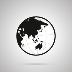 Asia and australia side of world map on globe, simple black icon