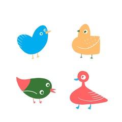 Set of Colorful Cartoon Birds illustration