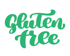 Gluten free. Hand drawn lettering phrase isolated on white background. Vector illustration text calligraphy quote