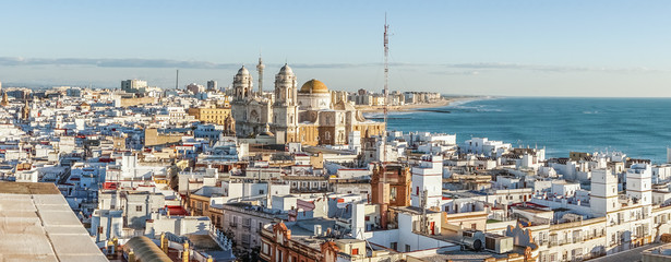 Wall Mural - Cadiz cityscape with famous Cathedral, Andalusia, Spain