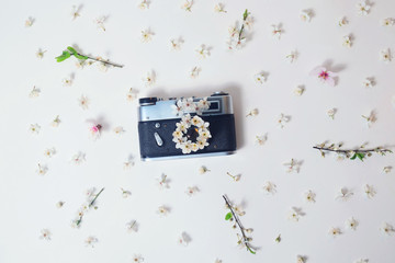 Old retro camera with spring small flowers