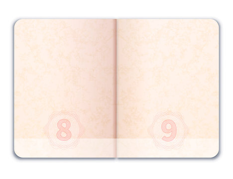 Blank realistic open foreign passport on white