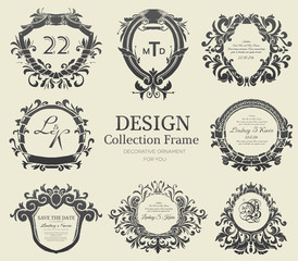 Luxury label or King place symbol element with decorative calligraphy object set. Template for classical card, invitation, identity cover design, packaging, hipster stamp. Vector illustration concept