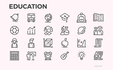 Education icons. School curriculum and equipment, teachers and students and other symbols. Editable line. Wall mural